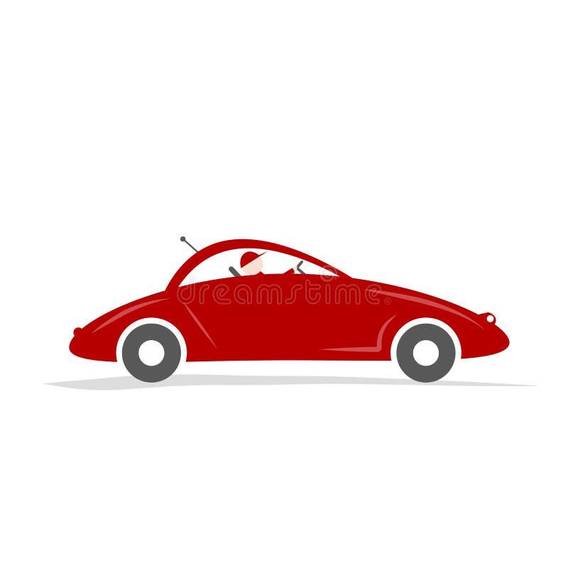 Hombre que conduce el coche deportivo rojo para su diseño libre illustration