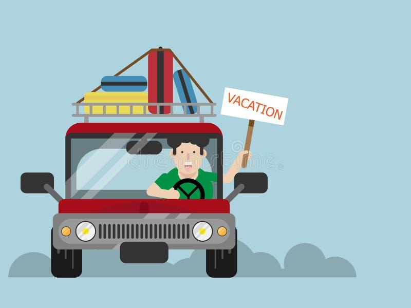 Hombre que conduce el coche a las vacaciones ilustración del vector