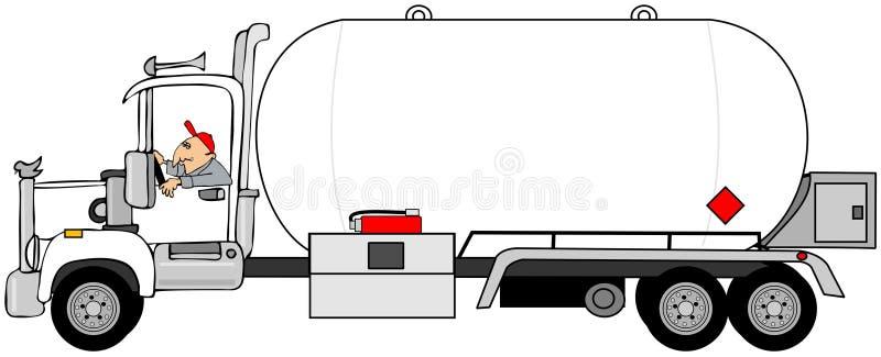 Hombre que conduce un camión de petrolero del propano stock de ilustración