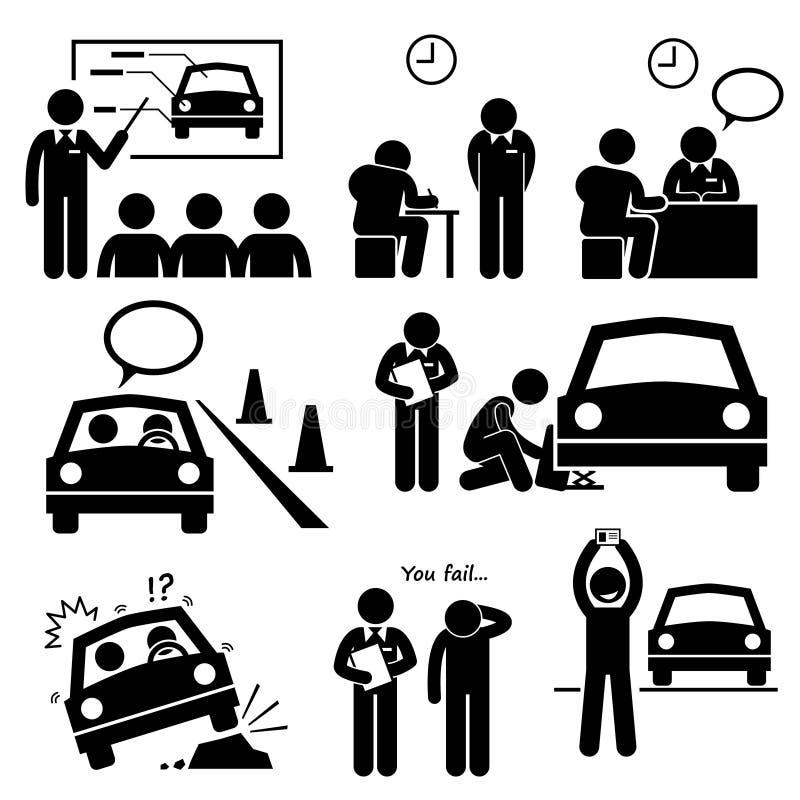 Hombre que consigue los iconos de Cliparts de la lección de la escuela de conducción del carnet de conducir ilustración del vector