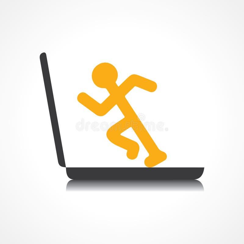 Hombre que corre con tecnología ilustración del vector