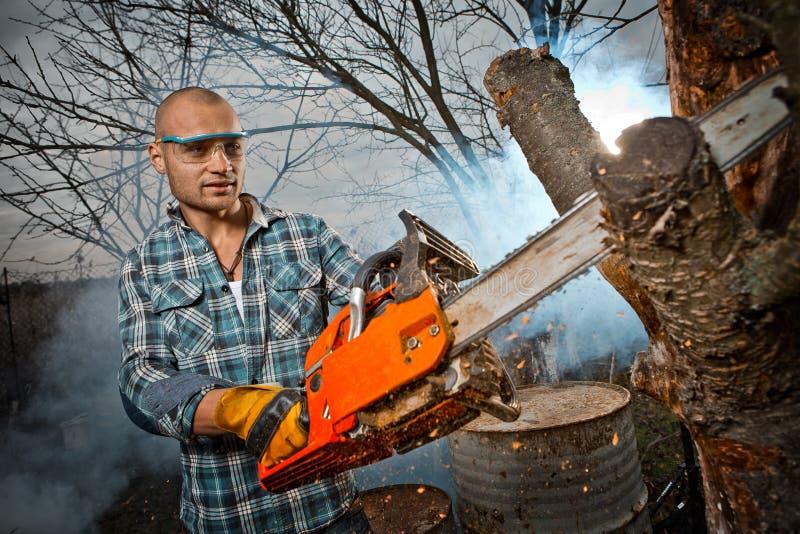 Hombre que corta una rama imagen de archivo libre de regalías