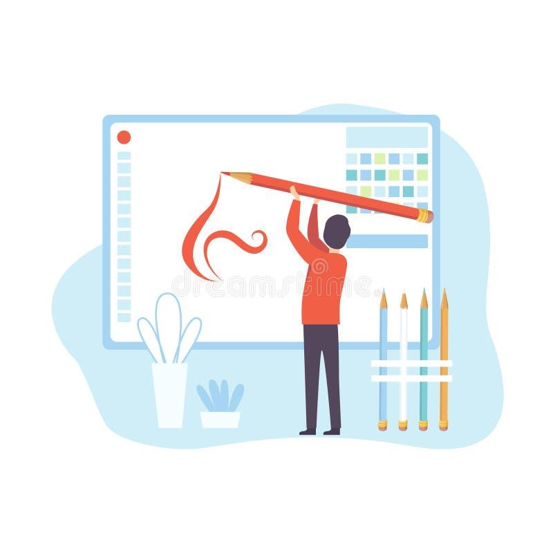 Hombre que crea la página web, proceso contento de la tecnología de Digitaces, medios ejemplo de comercialización social del vect libre illustration