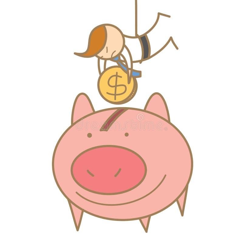 Hombre que cuelga para salvar el dinero libre illustration
