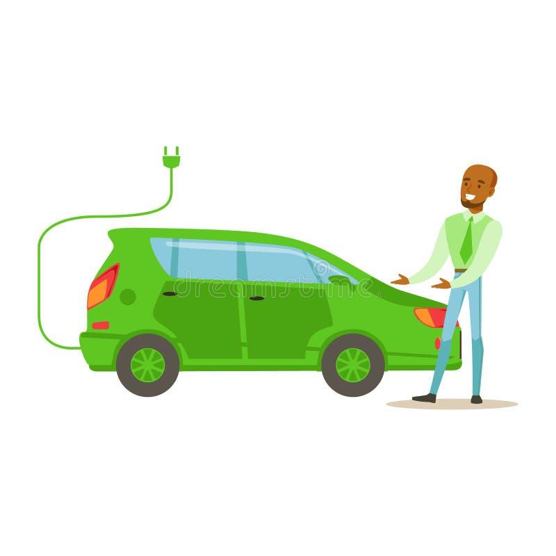 Hombre que demuestra el coche eléctrico verde, contribuyendo en la preservación del ambiente usando maneras respetuosas del medio ilustración del vector