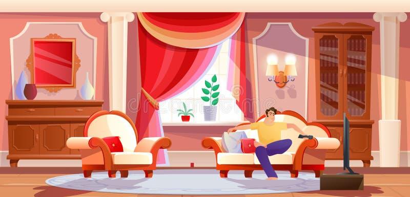 Hombre que descansa delante de la TV en sitio brillante del salón stock de ilustración