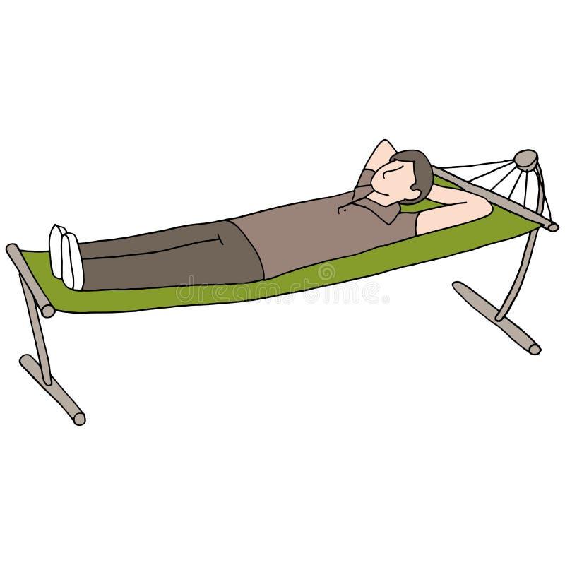 Hombre que descansa sobre la hamaca stock de ilustración