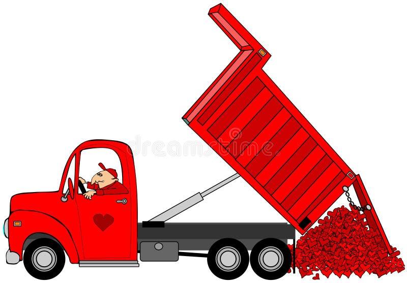 Hombre que descarga una carga de los corazones de la tarjeta del día de San Valentín ilustración del vector