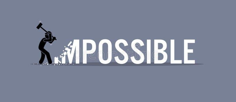 Hombre que destruye la palabra imposible a posible stock de ilustración