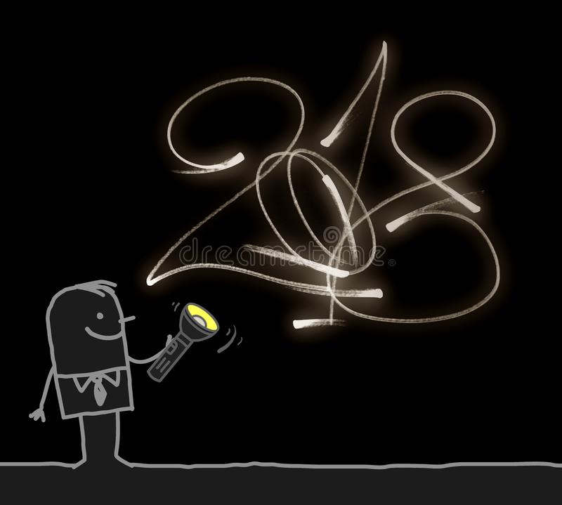 Hombre que dibuja un número luminescente 2018 stock de ilustración