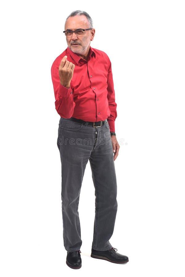 Hombre que dice con su finger venir fotos de archivo