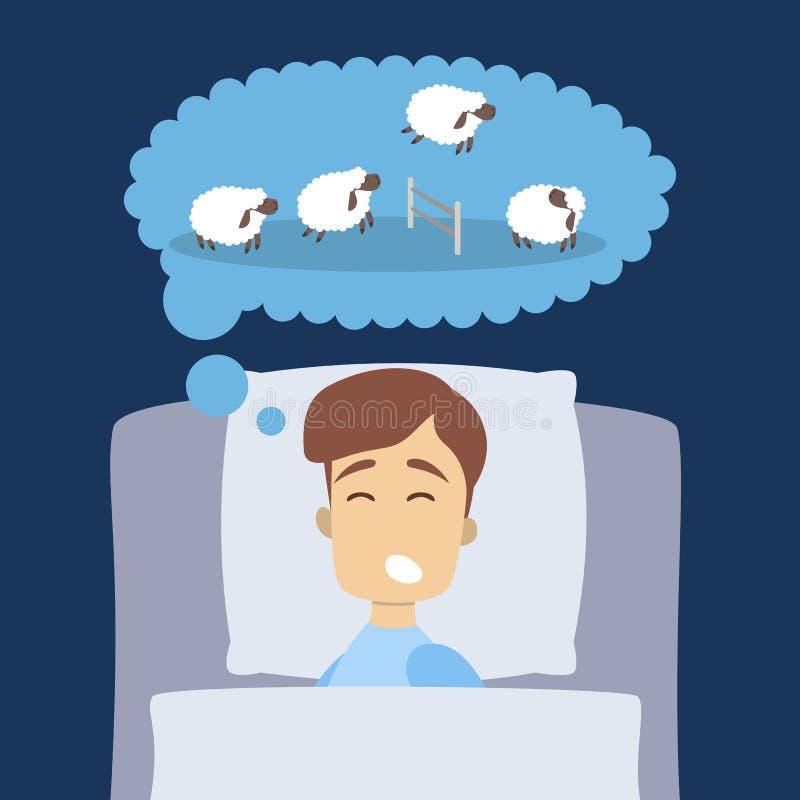 Hombre que duerme con las ovejas ilustración del vector