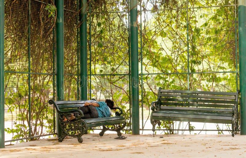Hombre que duerme en banco de parque en gurgaon foto de archivo libre de regalías