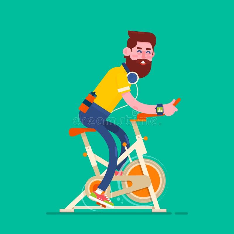 Hombre que ejercita en la bici inmóvil ilustración del vector