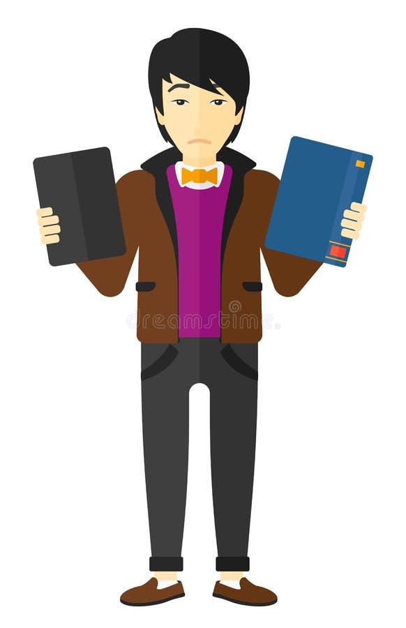 Hombre que elige entre el libro y la tableta stock de ilustración