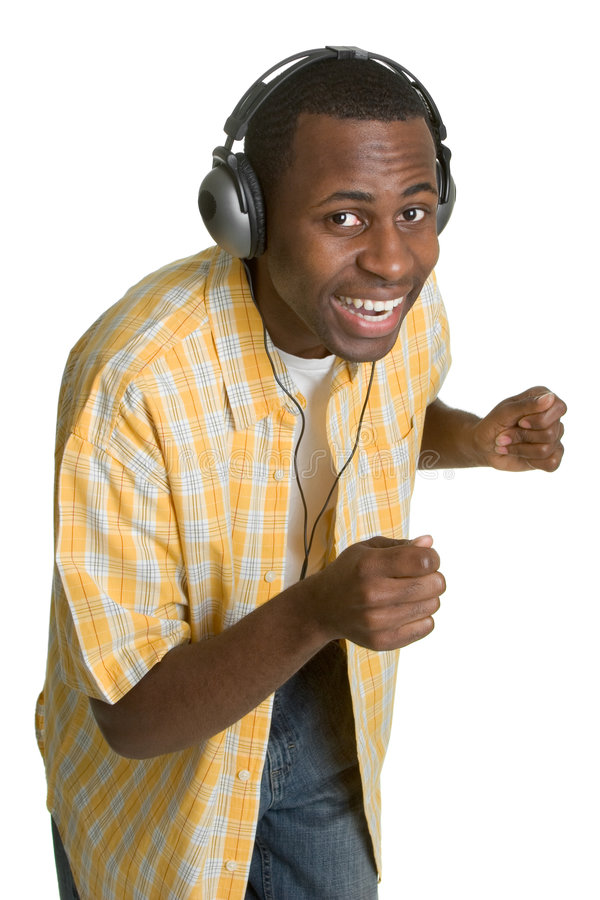 Hombre que escucha de la música fotos de archivo