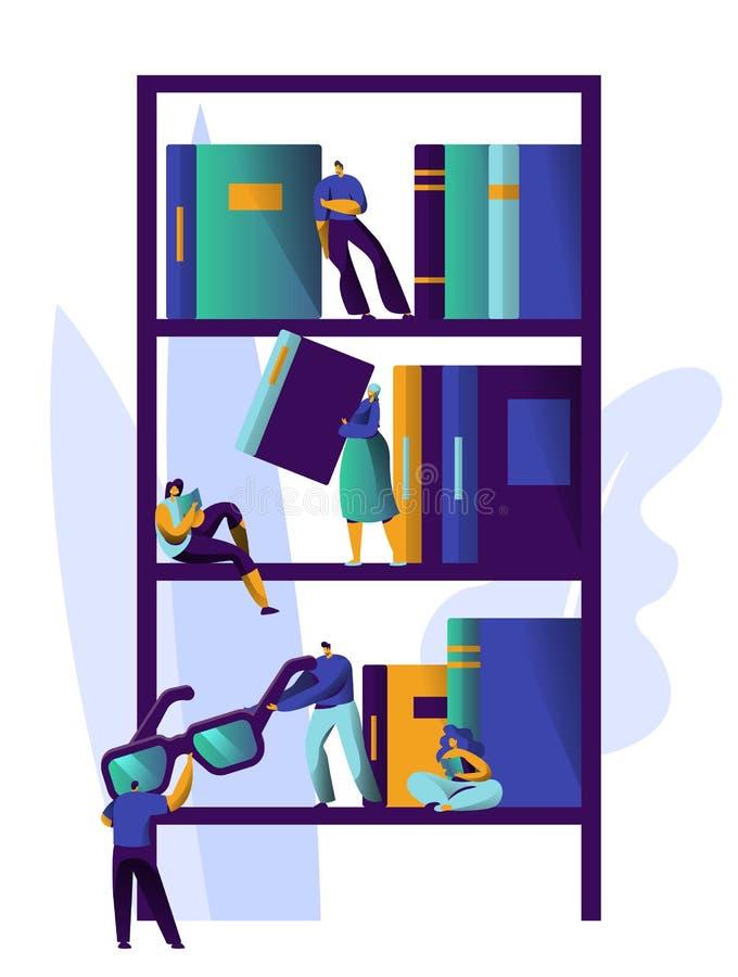 Hombre que estudia la literatura en el estante de librería de la biblioteca Colección del diseño del estante para libros de la re ilustración del vector