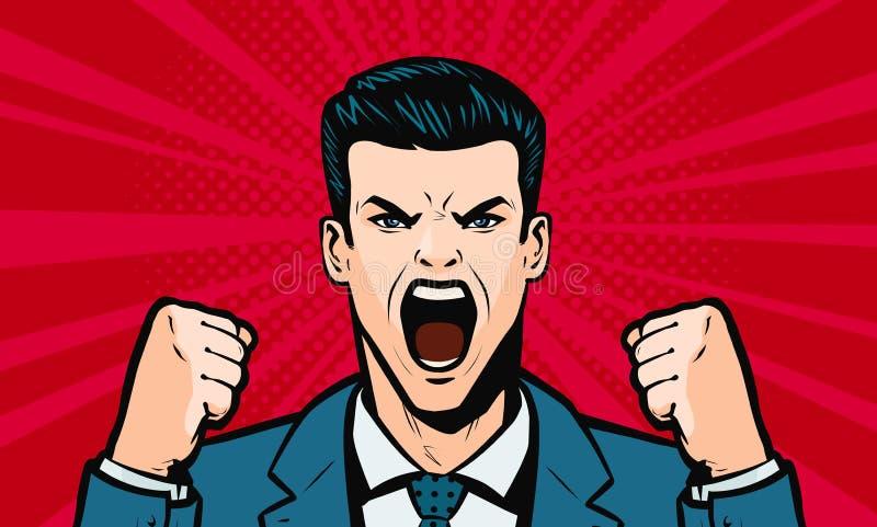 Hombre que grita en alta voz Historieta en el estilo cómico retro del arte pop, ejemplo del vector ilustración del vector