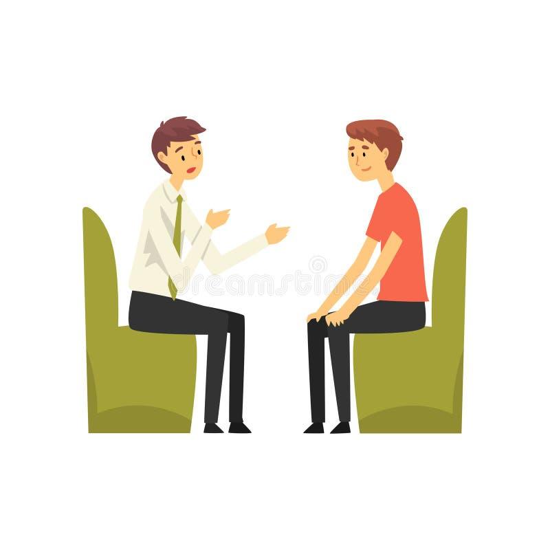 Hombre que habla con el encargado en la oficina del banco, trabajador del banco que proporciona servicios al ejemplo del vector d stock de ilustración