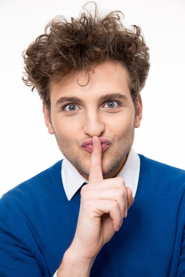 ¡Hombre que hace el gesto del silencio, shhhhh!! fotografía de archivo libre de regalías