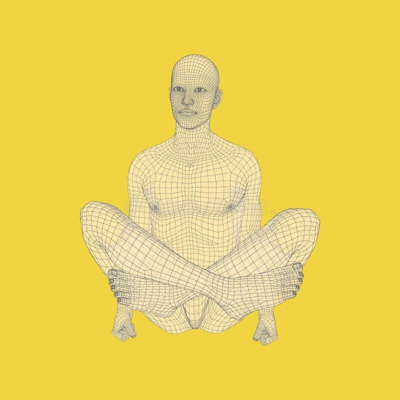 Hombre que hace entrenamiento de la yoga modelo 3D del hombre Forma de vida sana ilustración del vector