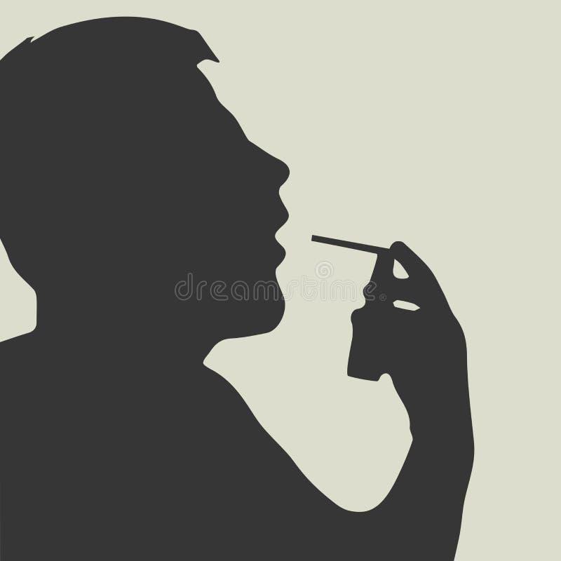 Hombre que hace la inhalación Garganta dolorida del espray libre illustration