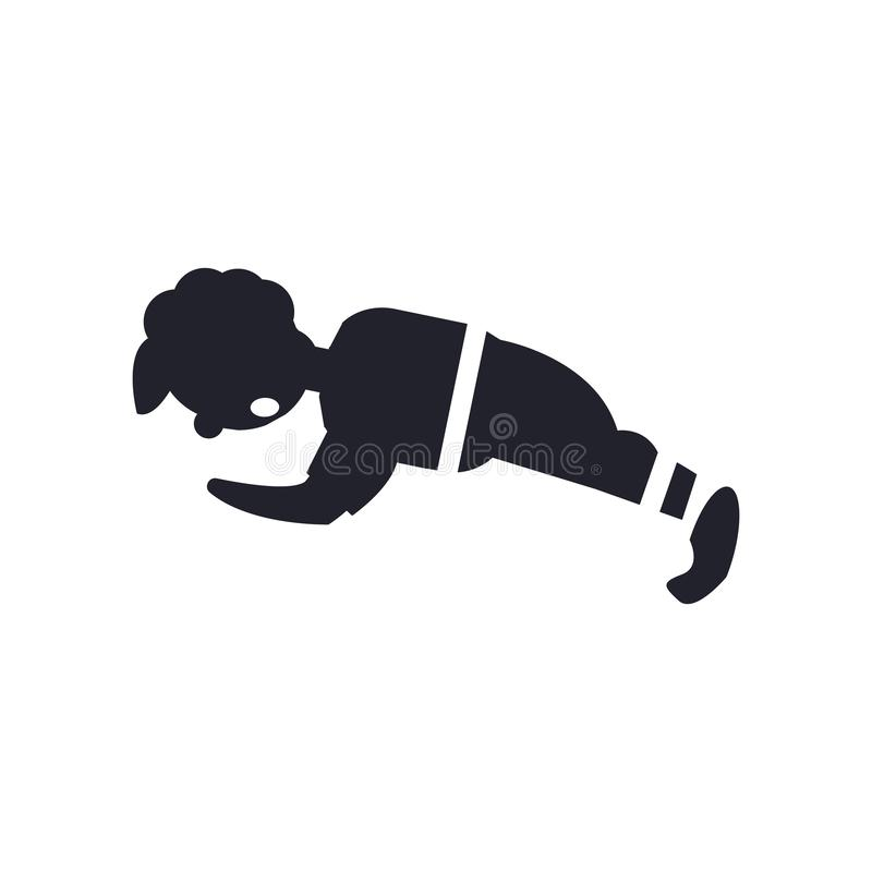 Hombre que hace la muestra y el símbolo del vector del icono de las flexiones de brazos aislados en el fondo blanco, hombre que h libre illustration