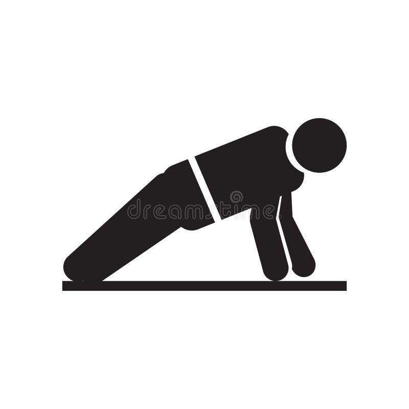 Hombre que hace la muestra y el símbolo del vector del icono de las flexiones de brazos aislados en el fondo blanco, hombre que h stock de ilustración