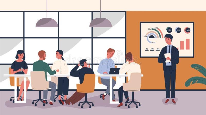 Hombre que hace la presentación aburrida y aburrida delante de la gente que se sienta en la tabla Conferenciante que da conferenc ilustración del vector