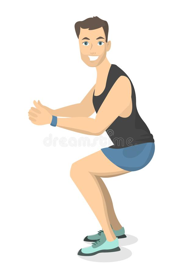 Hombre que hace posiciones en cuclillas libre illustration