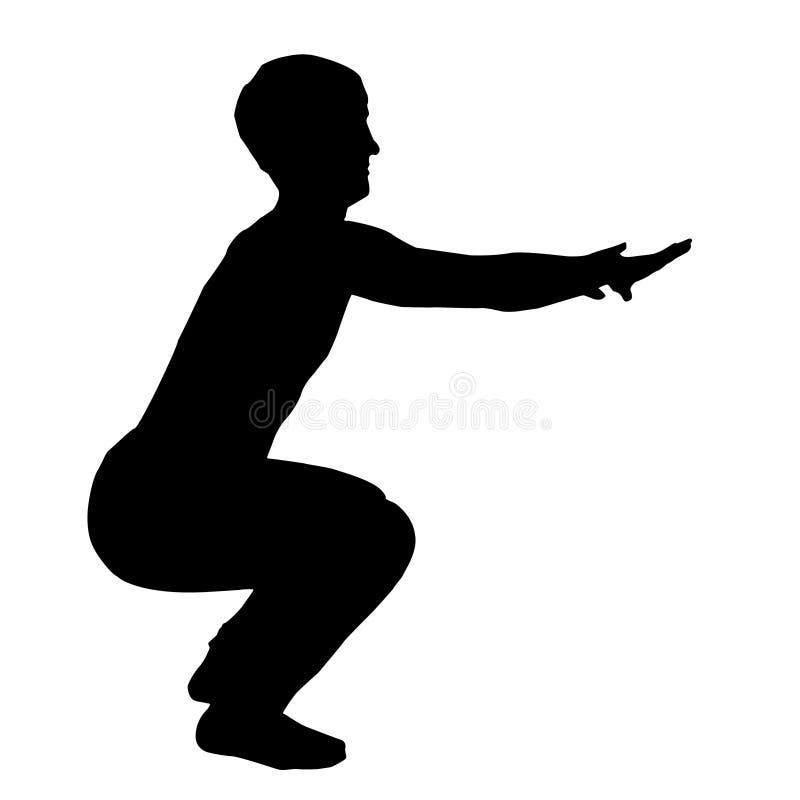 Hombre que hace posiciones en cuclillas Silueta negra aislada de un hombre que hace posiciones en cuclillas en el fondo blanco libre illustration