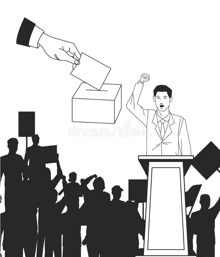 Hombre que hace un discurso con la votación de la silueta y de la mano de la audiencia libre illustration