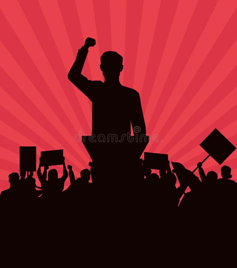 Hombre que hace un discurso y a una audiencia con la silueta del letrero stock de ilustración