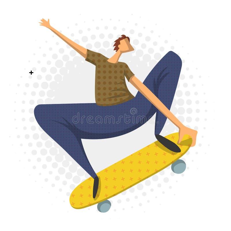 Hombre que hace un truco de salto en el monopatín, ejemplo del vector en el estilo plano, aislado en blanco skateboarder stock de ilustración