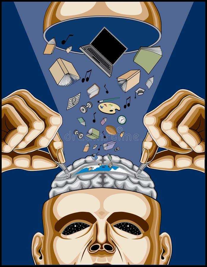 Hombre que introduce su cerebro Zippered ilustración del vector
