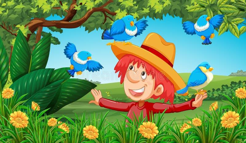 Hombre que juega con los pájaros en campo stock de ilustración