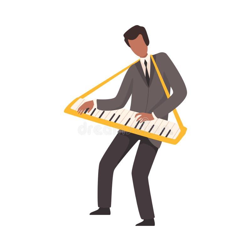 Hombre que juega el teclado, varón Jazz Musician Character en traje elegante con el ejemplo del vector del instrumento musical libre illustration