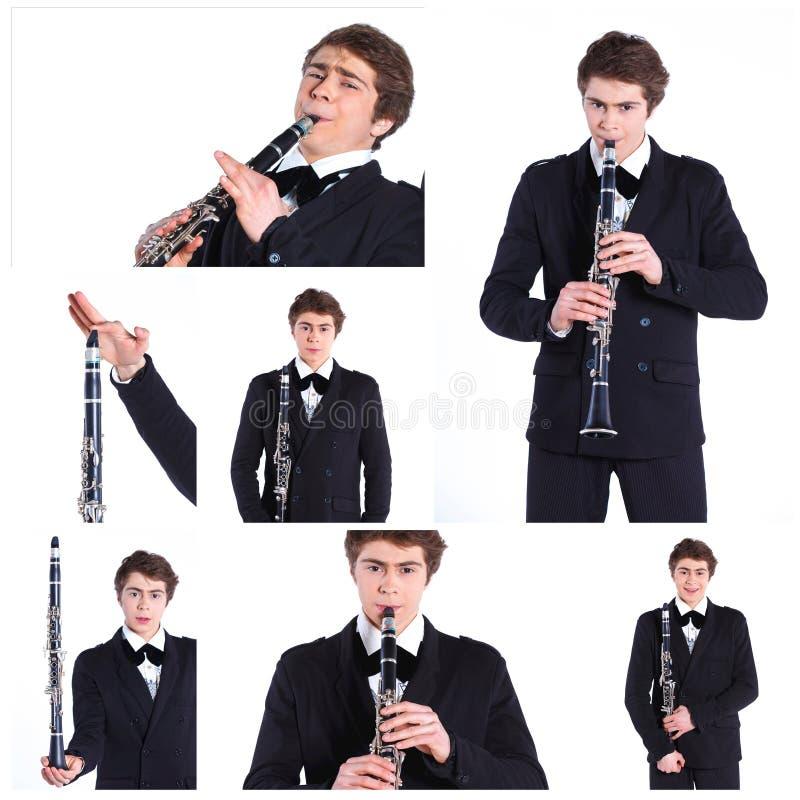 Hombre que juega en el clarinete. imagen de archivo