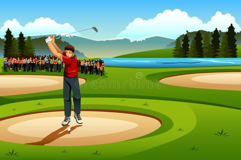 Hombre que juega a golf en la competencia libre illustration