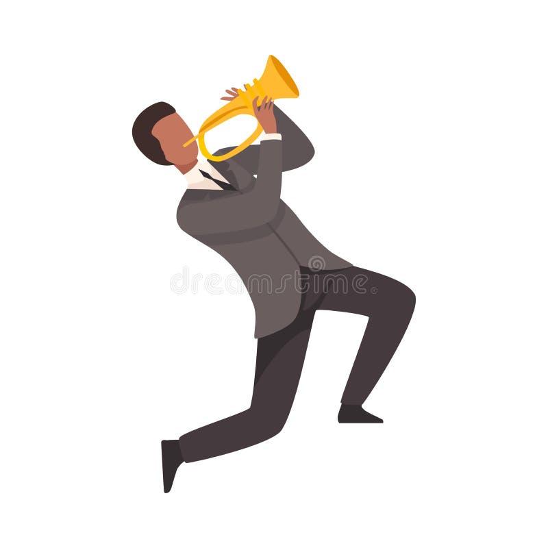 Hombre que juega la trompa, varón Jazz Musician Character en traje elegante con el ejemplo del vector del instrumento musical stock de ilustración