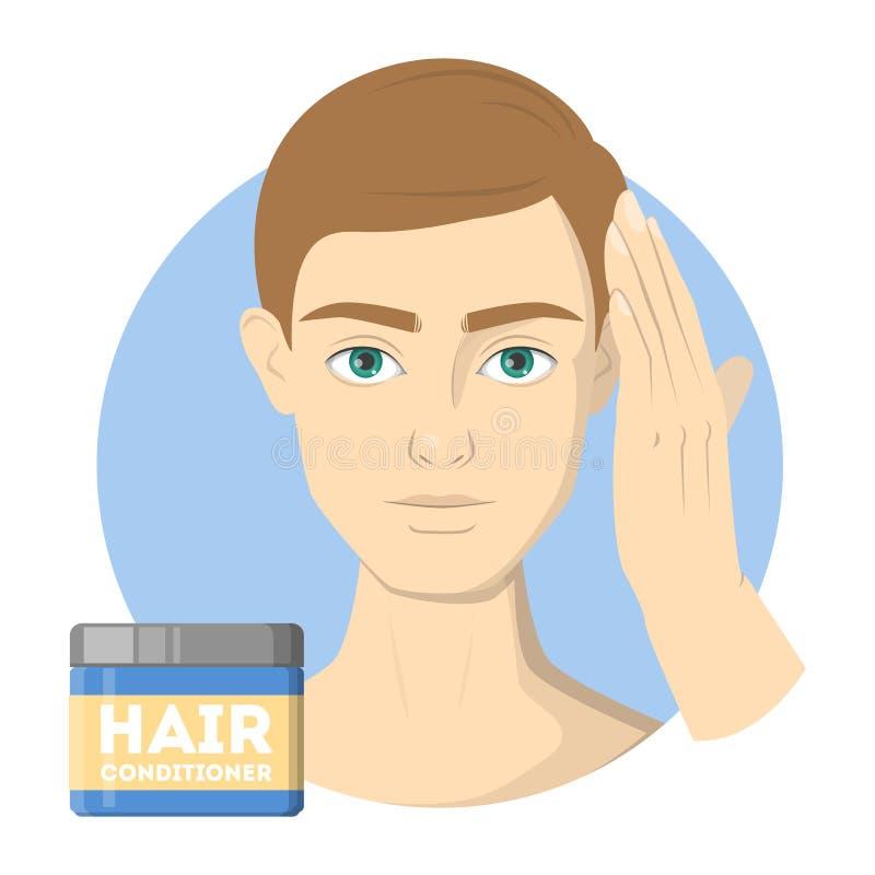 Hombre que lava su acondicionador del pelo y de pelo del uso stock de ilustración