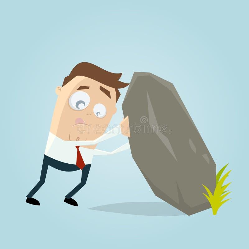 Hombre que levanta la roca grande stock de ilustración