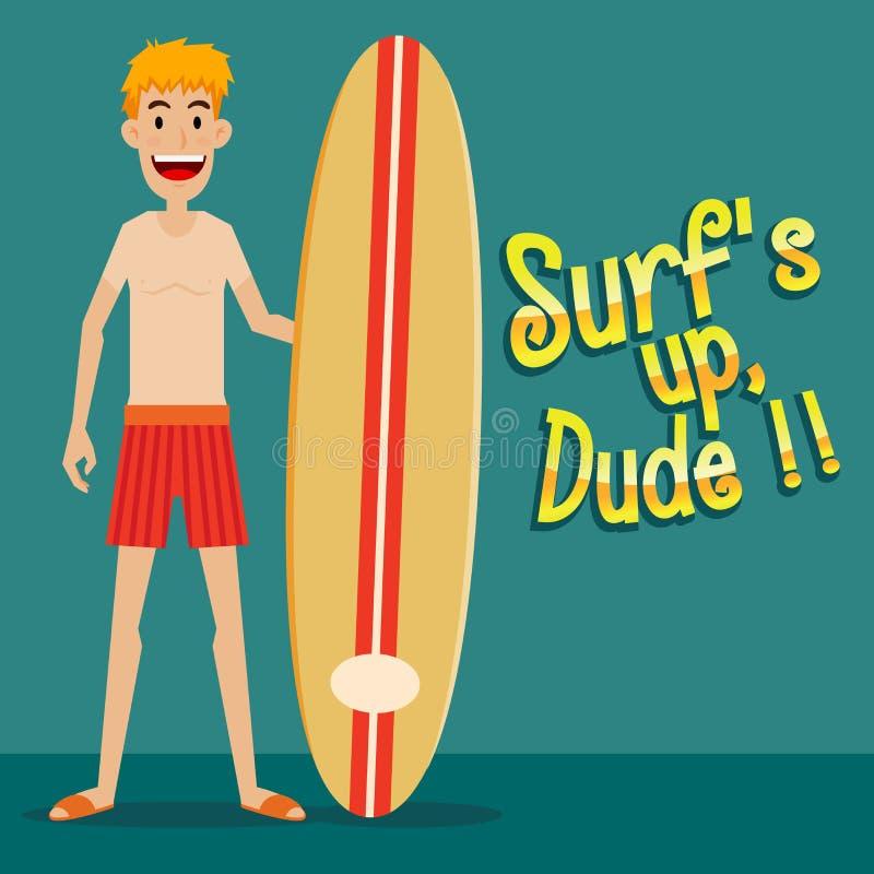 Hombre que lleva a cabo al tablero que practica surf libre illustration