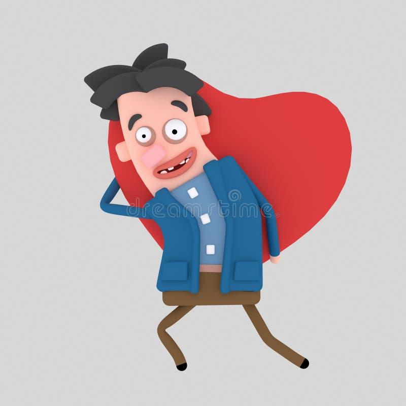 Hombre que lleva a cabo el corazón grande 3d stock de ilustración