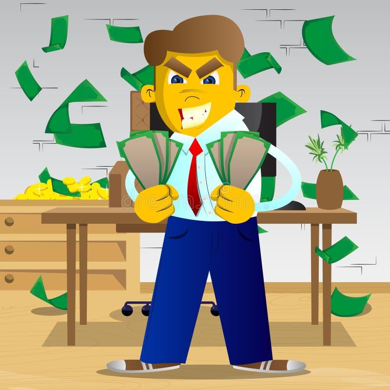 Hombre que lleva a cabo o que muestra cuentas de dinero stock de ilustración