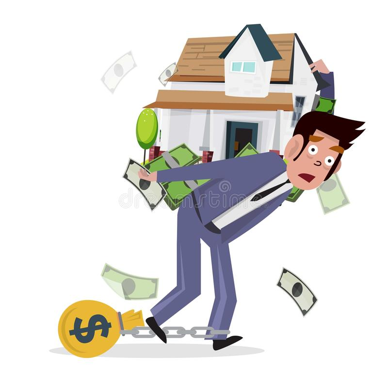 Hombre que lleva a casa con el dinero préstamo de la casa concepto de mortga ilustración del vector