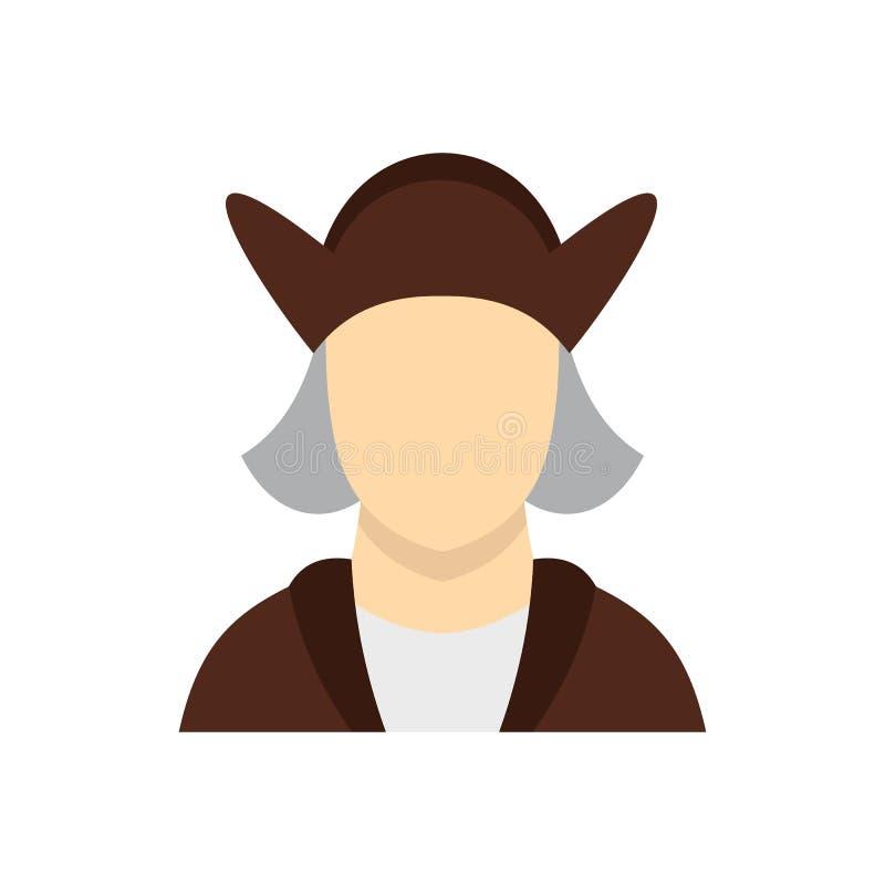 Hombre que lleva en icono del traje de Christopher Columbus stock de ilustración
