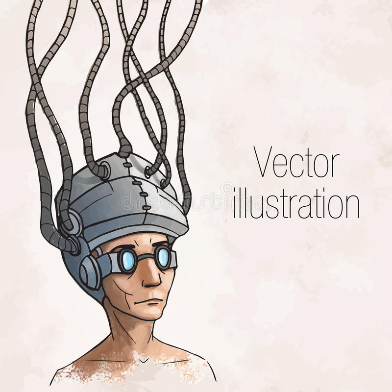 Hombre que lleva un casco del cerebro-control. Digital libre illustration