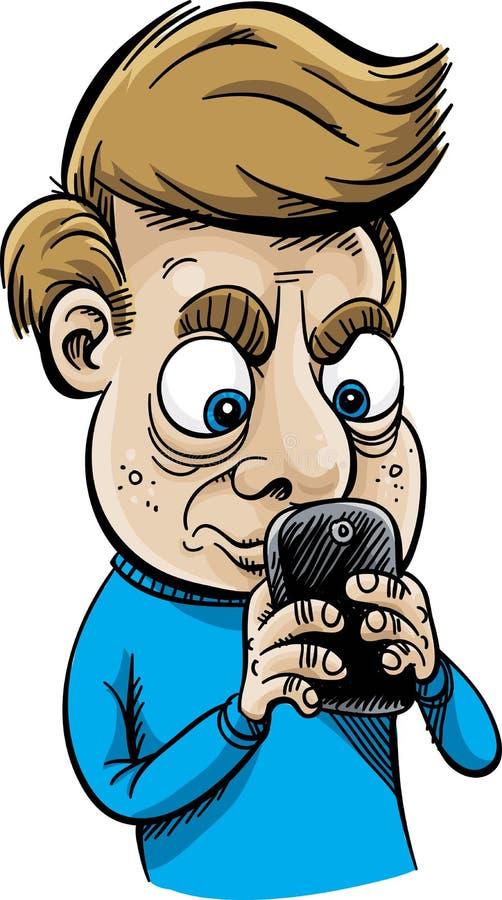 Hombre que manda un SMS intenso stock de ilustración