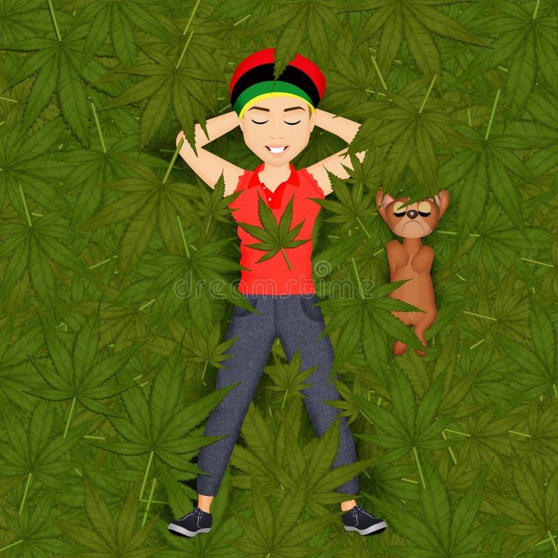 Hombre que miente en la marijuana ilustración del vector